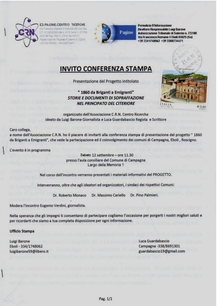 Invito Conferenza Stampa - Relazione Progetto 1860 da Briganti a Emigranti#001