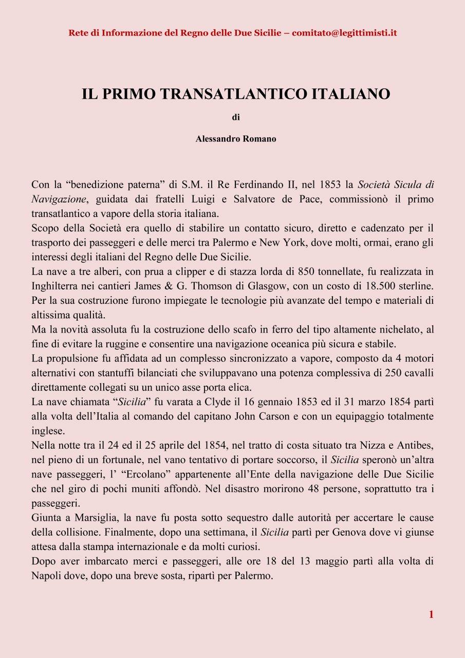 Il primo transatlantico italiano R 1#001