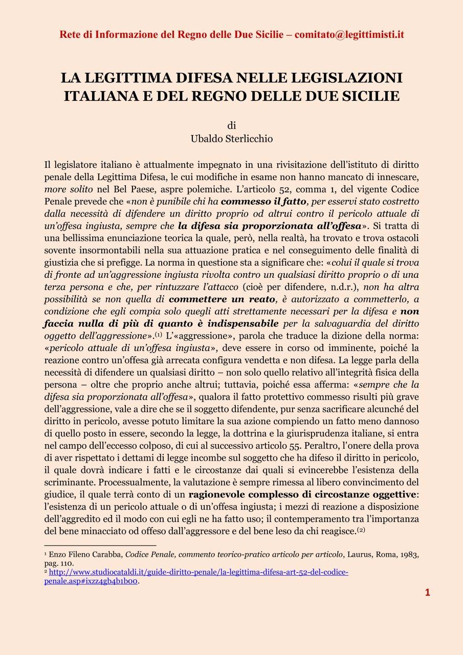 LA LEGITTIMA DIFESA 1#001